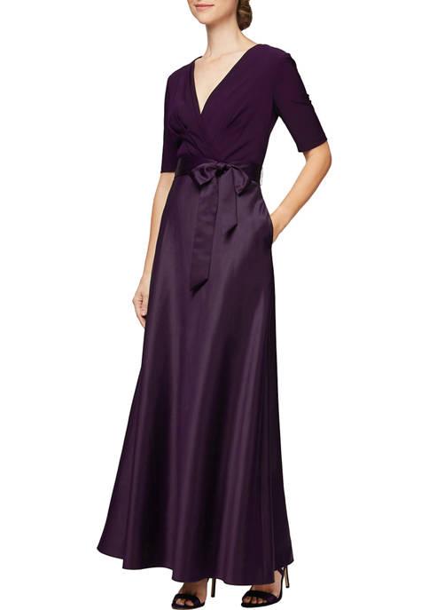 Alex Evenings Womens Long V-Neck Gown