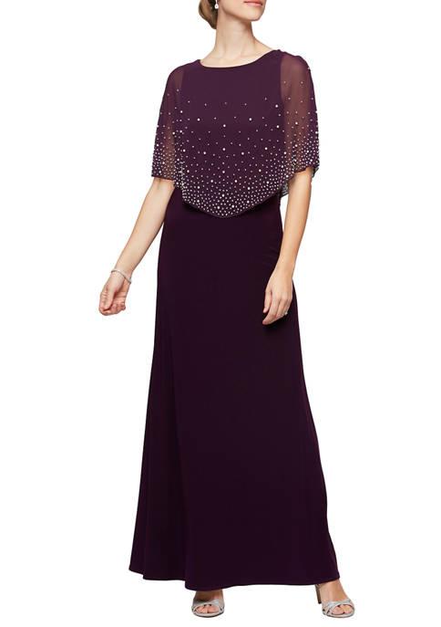 Alex Evenings Womens Long Popover Dress