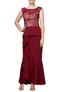 Long Cap Sleeve Dress with Peplum Cascade Skirt