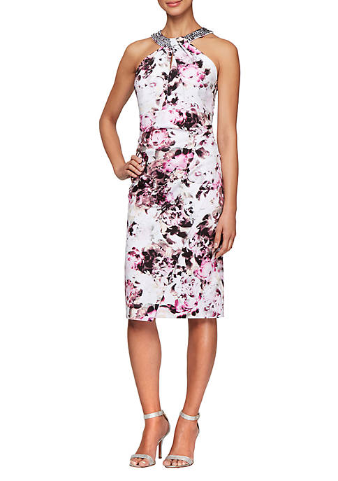 Alex Evenings Womens Halter Neck Printed Sheath Dress
