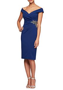 953f324e6d ... Alex Evenings Off The Shoulder Embellished Side Sheath Dress