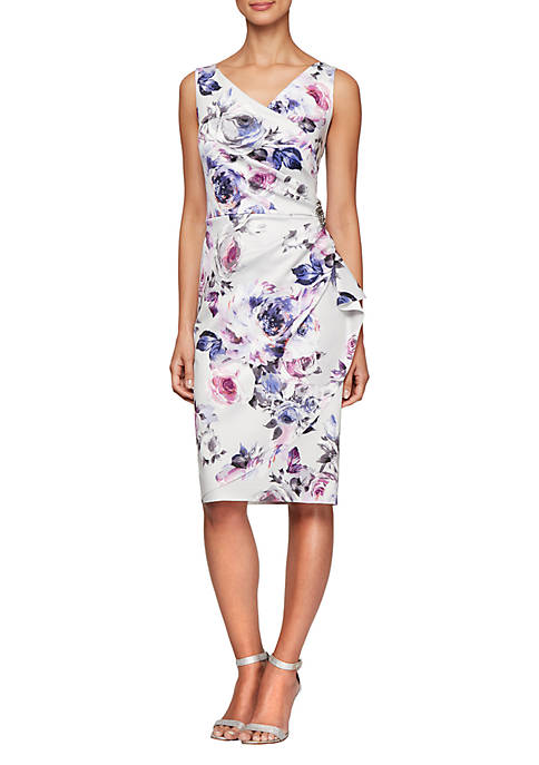 Alex Evenings Sleeveless Printed Short Sheath Dress