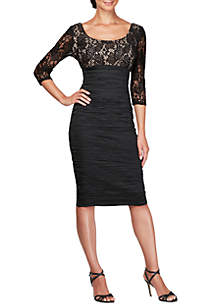 3/4 Illusion Sleeve Midi Empire Sheath Dress