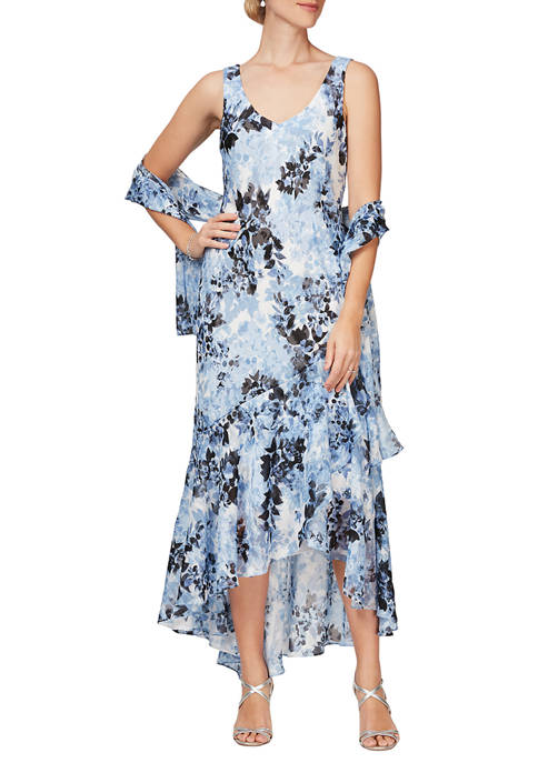 Alex Evenings Womens Long Dress with Shawl