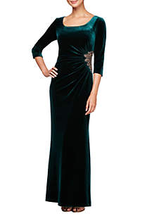 Long Sleeve Scoop Neck Gown with Beaded Hip