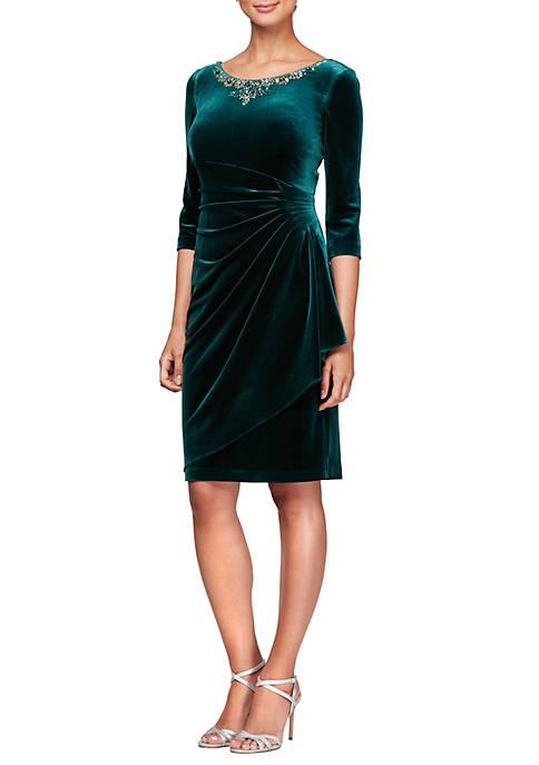 Alex Evenings Womens 3/4 Sleeve Short Velvet Shift