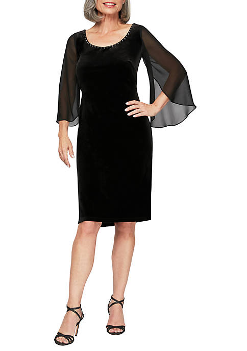 Alex Evenings Womens Long Sleeve Short Shift Dress