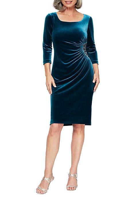 Alex Evenings Womens Short Sheath Dress