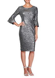 3/4 Bell Sleeve Sequin Short Shift Dress