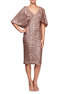 V-Neck Sequin Shift with Capelet Sleeves