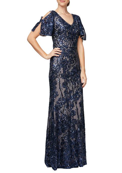 Alex Evenings Womens Long V-Neck Dress