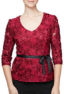 3/4 Sleeve V-neck Rosette with Tie Belt Blouse