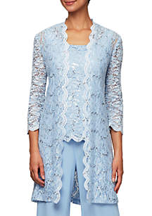 Alex Evenings 3/4 Sleeve Lace Scallop Twinset