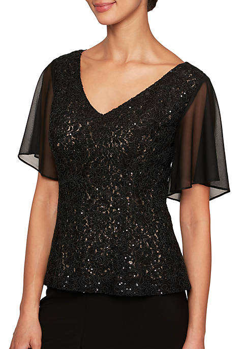Alex Evenings V Neck Corded Detail Blouse with