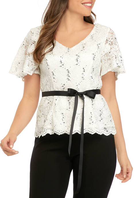 Alex Evenings Womens V Neck Blouse