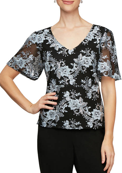 Womens Short Sleeve Embroidered Blouse