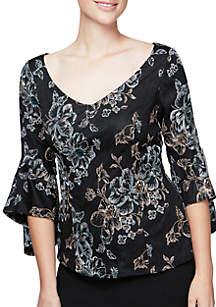 Three-Quarter Sleeve Embroidered V-Neck Top