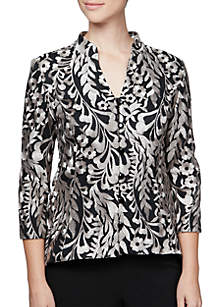 Three-Quarter Sleeve Embroidered High-Low Jacket