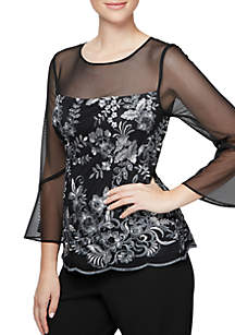 3/4 Sheer Bell Sleeve Embroidered Blouse
