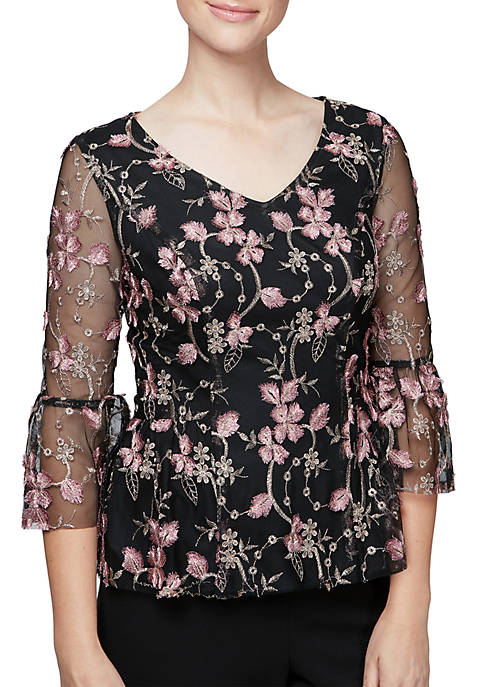 Alex Evenings Embroidered V-Neck Blouse