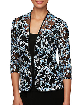 Alex Evenings Womens Plus Embroidered Floral Twinset