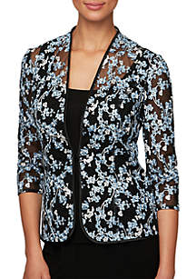 Alex Evenings 3/4 Sleeve Embroidered Twinset