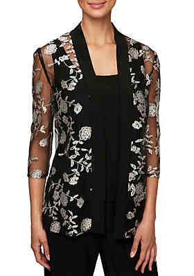 b9c4ba01cb07 Alex Evenings 3 4 Sleeve Embroidered Jacket Twinset ...