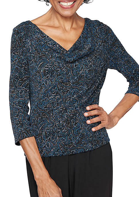 Printed Cowl Neck Blouse
