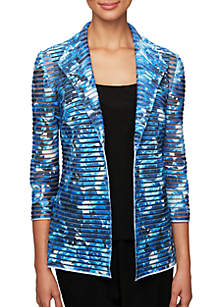 Alex Evenings Printed Twinset with Collar Detail Open Illusion Jacket and Solid Scoop Neck Tank