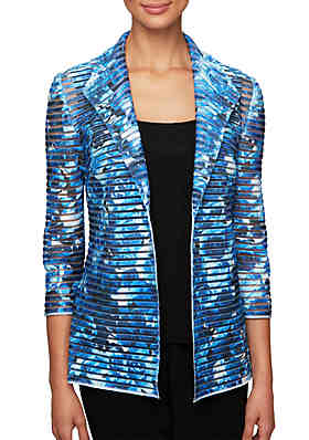 b8125a9a6 Alex Evenings Printed Twinset with Collar Detail Open Illusion Jacket and  Solid Scoop Neck Tank ...