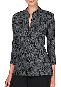 3/4 Sleeve Print Button Front Jacket