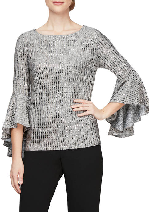 Womens Flare Sleeve Sequin Top