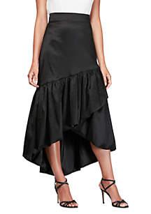 Alex Evenings High Low Overlay Ruffle Skirt