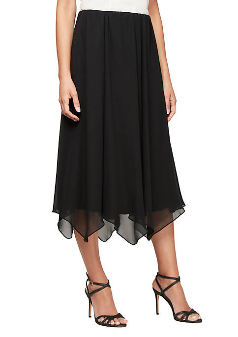 Alex Evenings Hanky Hem Chiffon Skirt