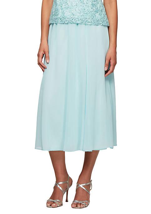 Alex Evenings Chiffon Tea-Length Skirt