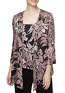 Two-Piece Three-Quarter Sleeve Printed Pointed Hem Jacket and Tank Set