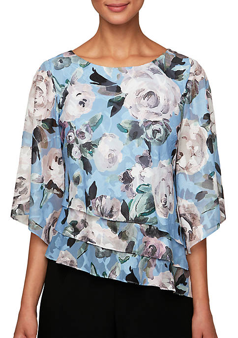 Alex Evenings 3/4 Sleeve Print Asymmetric Blouse