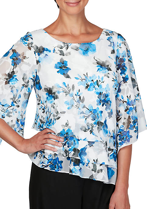 Alex Evenings Tiered Floral Blouse