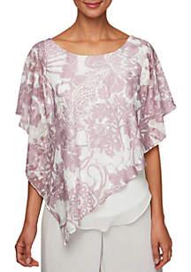 Alex Evenings 3/4 Sleeve Printed Asymmetrical Overlay Blouse