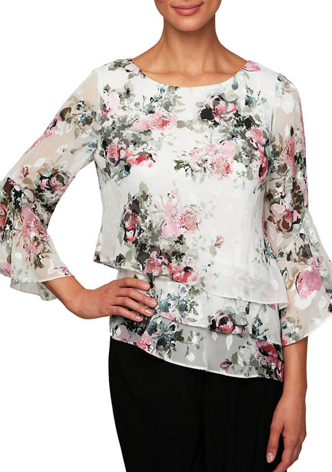 Alex Evenings Womens 3/4 Sleeve Triple Tier Chiffon