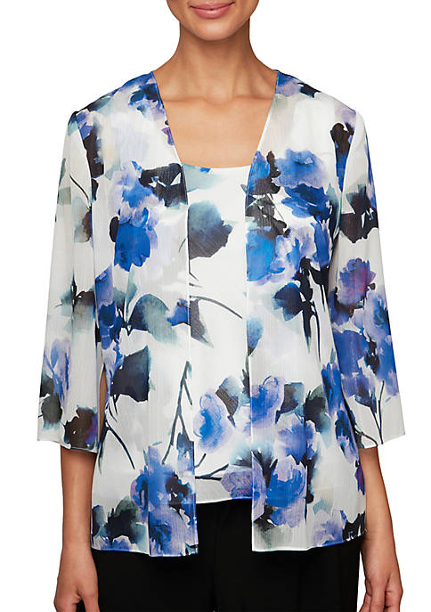 Alex Evenings Printed Twinset with Open Jacket and