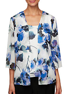 Alex Evenings Printed Twinset with Open Jacket and Scoop Neck Tank