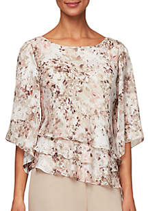 5aed86676a21a7 ... Alex Evenings 3/4 Sleeve Printed Triple Tier Blouse