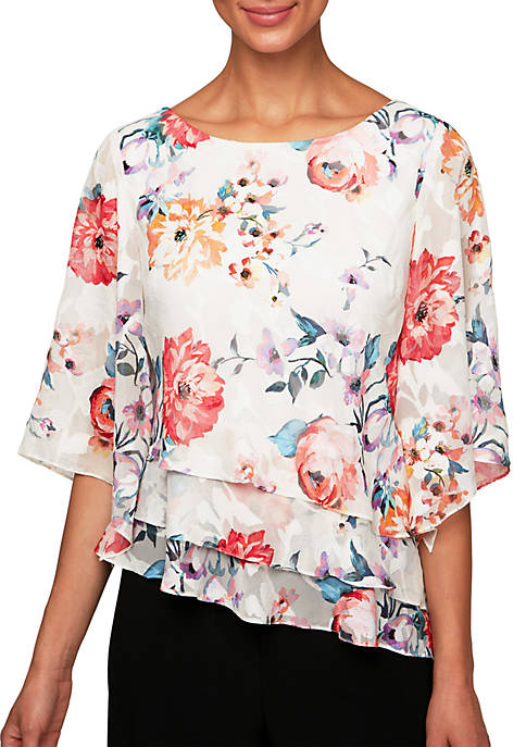 Alex Evenings 3/4 Sleeve Printed Triple Tier Blouse