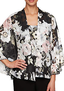 Alex Evenings Printed Twinset with Open Cascade Jacket and Scoop Neck Tank