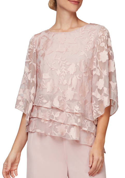 Alex Evenings Womens 3/4 Sleeve Burn Out Blouse