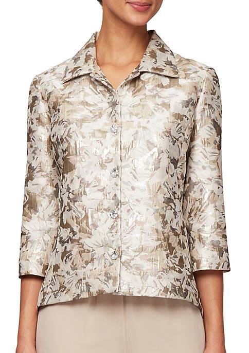 3/4 Sleeve Brocade Print Jacket