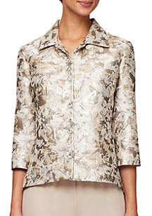 Alex Evenings 3/4 Sleeve Brocade Print Jacket