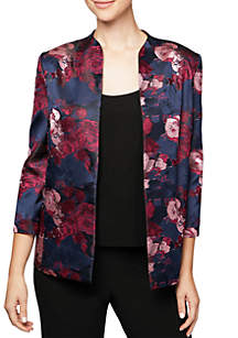 Two-Piece Three-Quarter Sleeve Printed Open Jacket and Scoop Tank Set