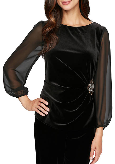 Alex Evenings Womens 3/4 Sleeve Blouse